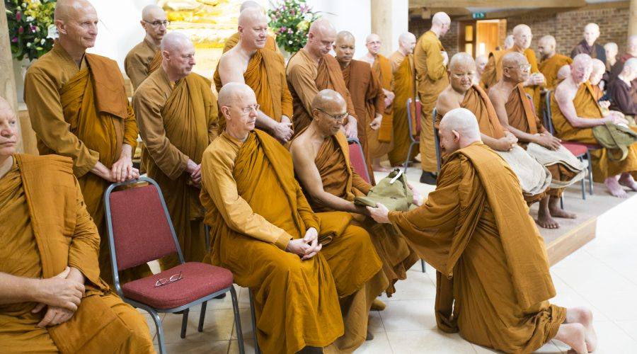 Offering gifts to monks