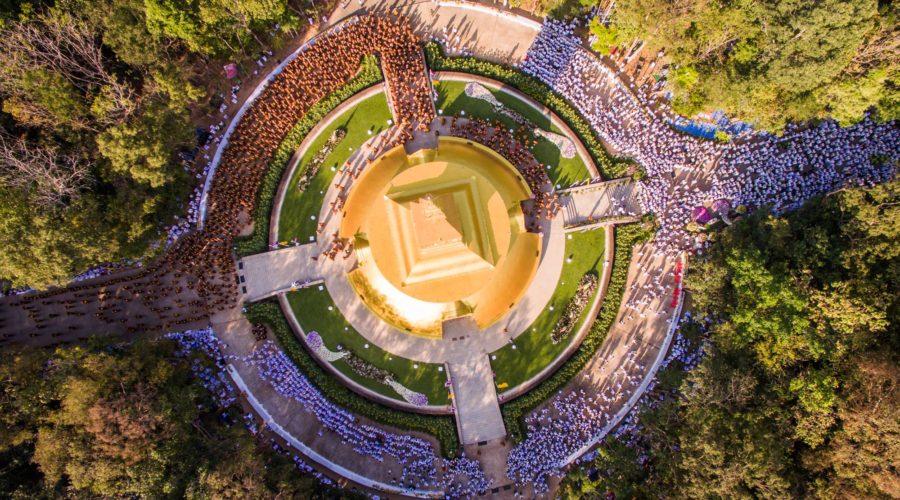 Vogelperspektive der Stupa von Ajahn Chah